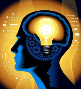 Brain and light bulb